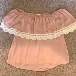 Flying Tomato Blush Pink Silk Off-The-Shoulder Top
